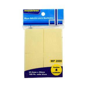 Bloco Adesivo Amarelo 38x50mm 4 bl c/100 fls - Masterprint