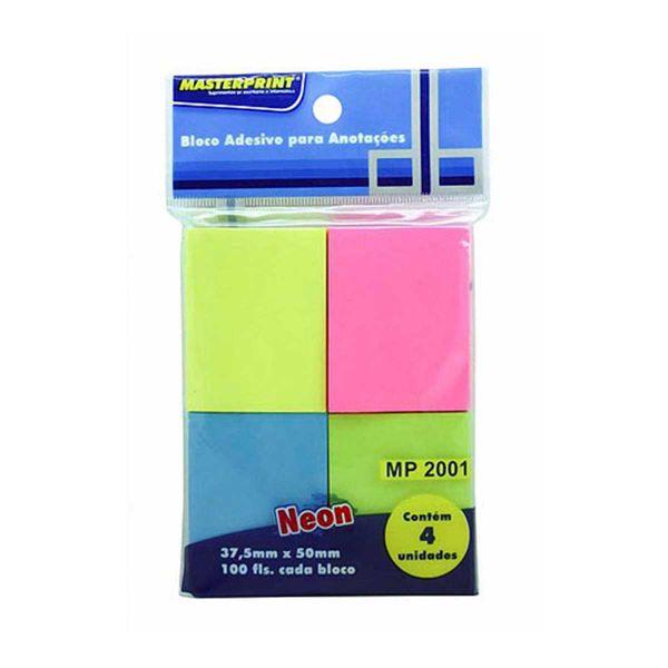 Bloco Adesivo Colorido 38x50mm 4 bl 100 fls - Masterprint