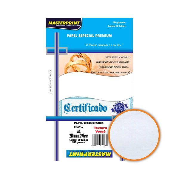 Papel Texturizado Vergê Branco A4 180 g/m² - 50 Folhas