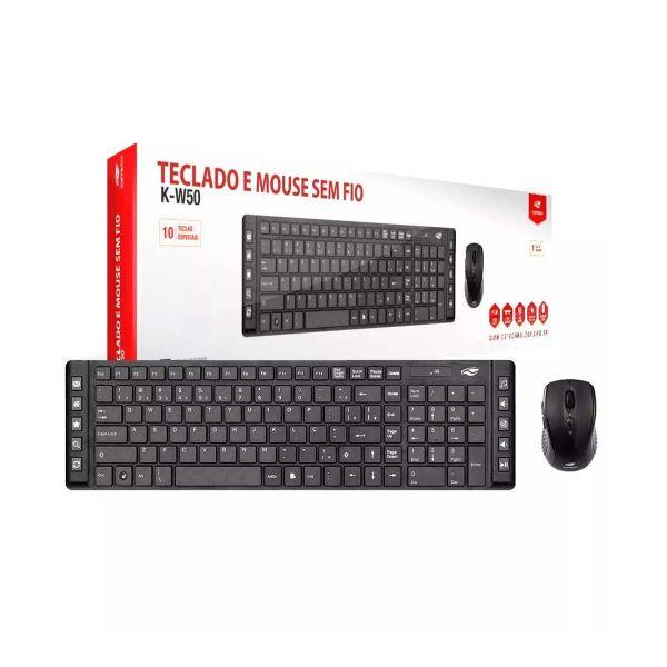 Kit Teclado + Mouse Sem Fio K-W50 C3Tech