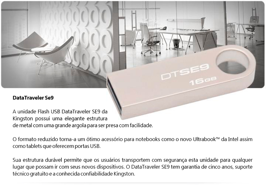 Pen Drive Kingston DataTraveler USB 2.0 16GB DTSE9H/16GB