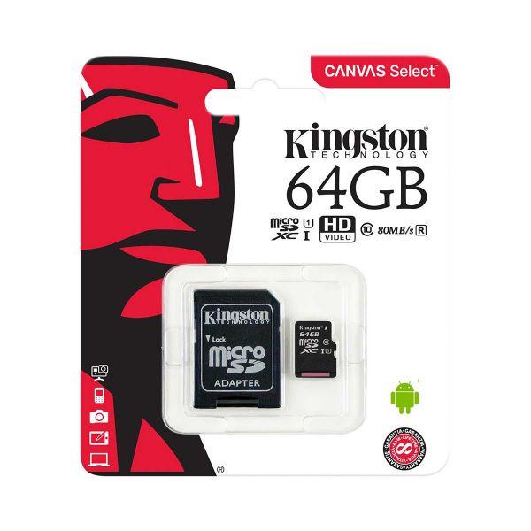 MicroSD Kingston Canvas Select 64GB Classe 10 - SDCS/64GB